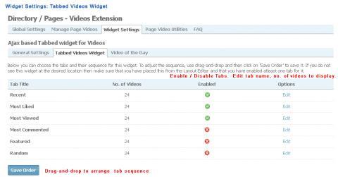 Admin: Widget Settings: Tabbed Videos Widget