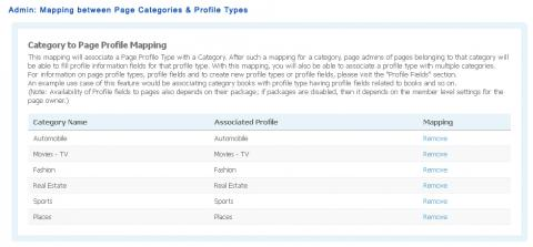 Admin: Mapping between Page Categories & Profile Fields
