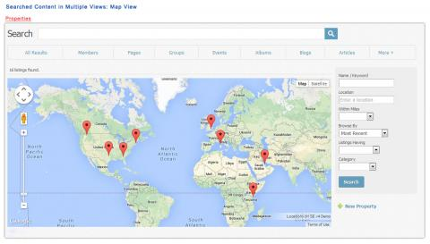 Searched Content in Multiple Views: Map View