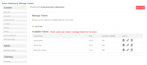 Event Dashboard: Manage Tickets