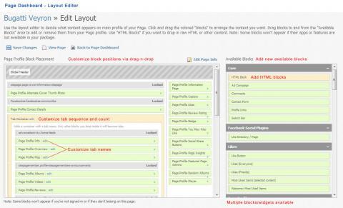 Page Dashboard - Layout Editor