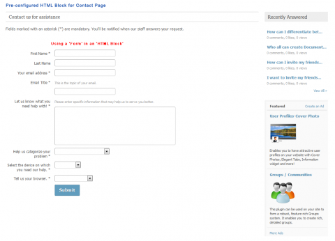 Pre-configured HTML Block for Contact Page