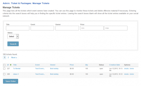 Admin: Ticket & Packages: Manage Tickets