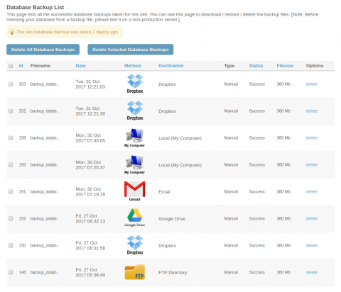 Admin: Database Backups