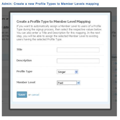 Admin: Create a new Profile Types to Member Levels mapping