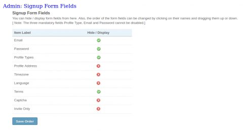 Admin: Signup Form Fields