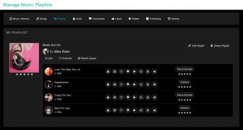 Manage Music: Playlists