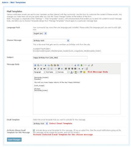 Admin : Mail Templates
