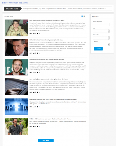 Browse News Page (List View)