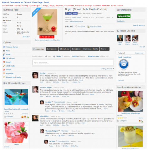 Advanced Comments on Content View Page: Food