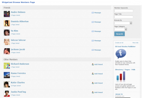 Widgetized Browse Members Page