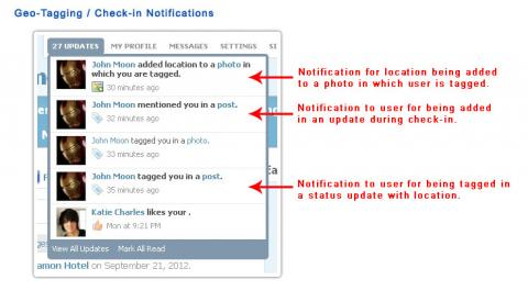 Geo-Tagging / Check-in Notifications