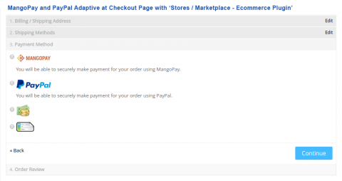 MangoPay and PayPal Adaptive at Checkout Page with 'Stores / Marketplace - Ecommerce Plugin'