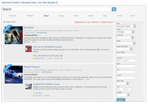 Searched Content in Multiple Views: List View (Sample 2)