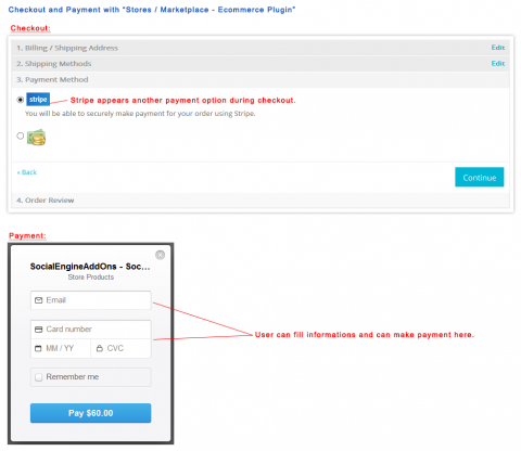 """Checkout and Payment with """"Stores / Marketplace - Ecommerce Plugin"""""""