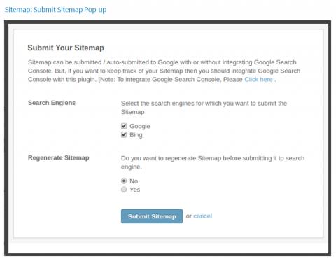 Sitemap: Submit Sitemap Pop-up