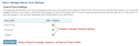 Admin: Manage Search Form Settings