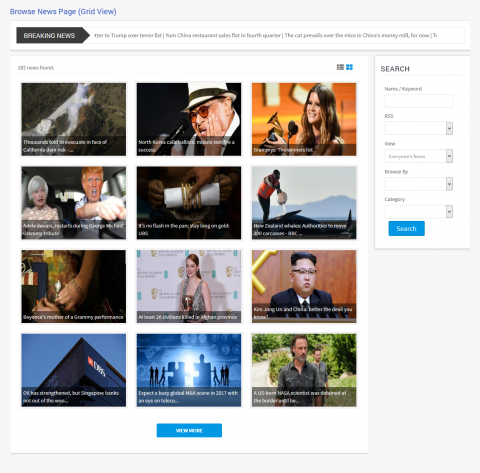 Browse News Page (Grid View)