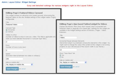 Admin: Layout Editor: Widget Settings