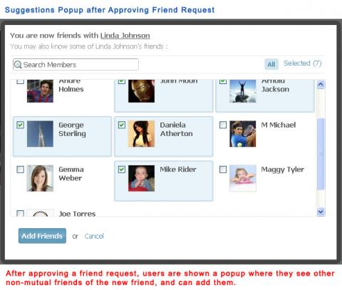 Suggestions popup after Approving Friend Request