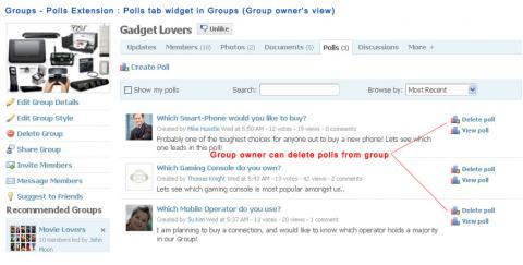Groups - Polls Extension : Polls tab widget in Groups (Group owner's view)