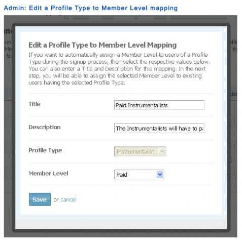 Admin: Edit a Profile Type to Member Level mapping
