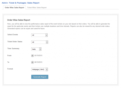 Admin: Ticket & Packages: Sales Report