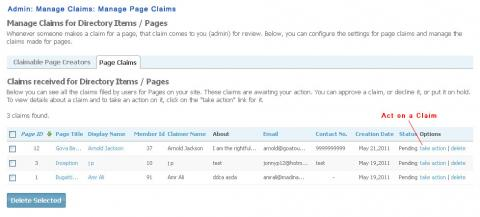Admin: Manage Claims: Manage Page Claims