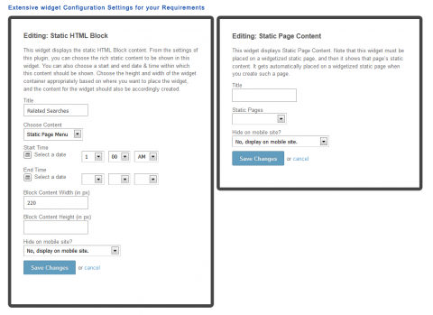Extensive widget Configuration Settings for your Requirements