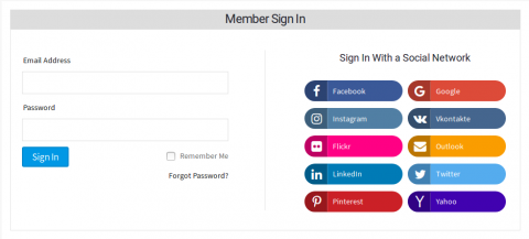 Signin With Social Login Options at the Right