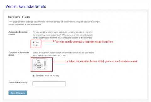 Admin: Reminder Emails