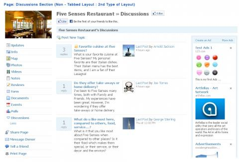 Page: Discussions Section (Non - Tabbed Layout : 2nd Type of Layout)