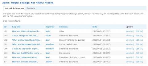 Admin: Helpful Settings: Not Helpful Reports