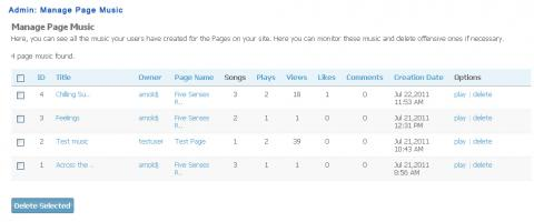 Admin: Manage Page Music