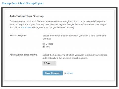 Sitemap: Auto-submit Sitemap Pop-up