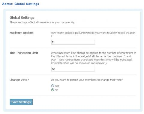 Admin: Global Settings