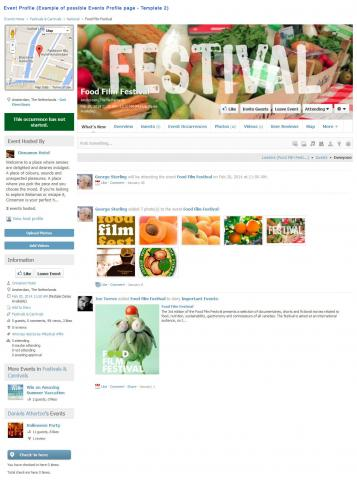 Event Profile (Example of possible Events Profile page - Template 2)