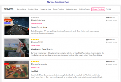 Manage Providers Page