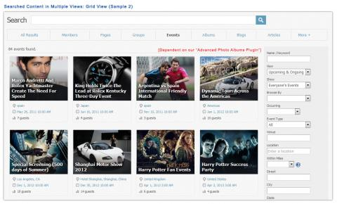 Searched Content in Multiple Views: Grid View (Sample 2)