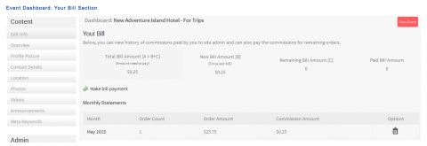 Event Dashboard: Your Bill Section