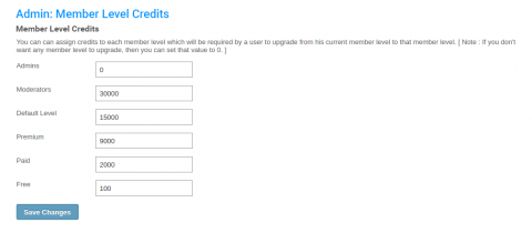 Admin: Member Level Credits