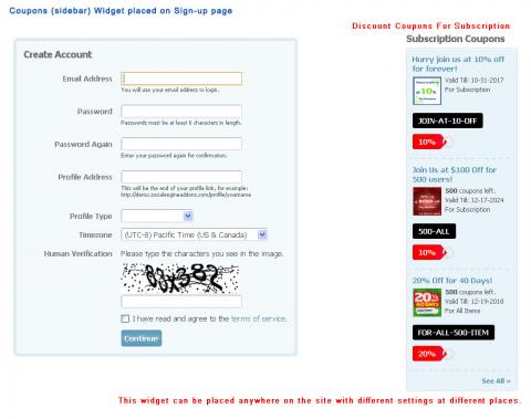 Coupons (sidebar) Widget placed on Sign-up page