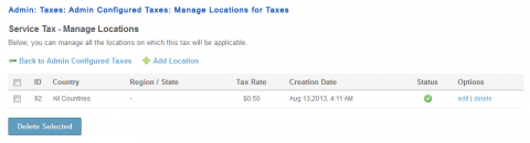 Admin: Taxes: Admin Configured Taxes: Manage Locations for Taxes