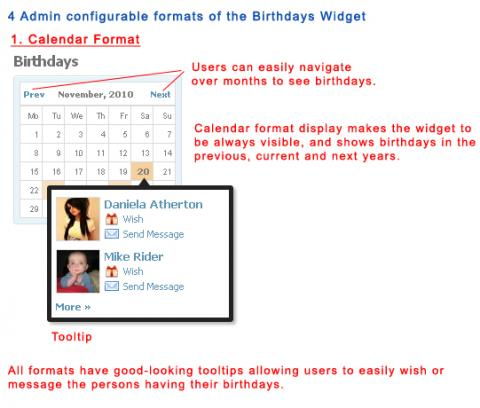 4 Admin configurable formats of the Birthdays Widget