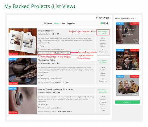 My Backed Projects (List View)