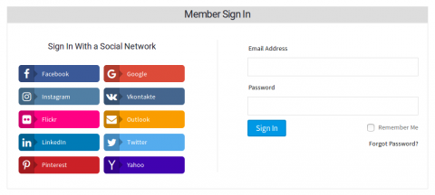 Signin With Social Login Options at the Left