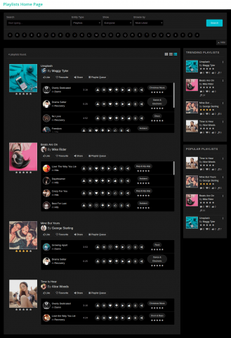 Playlists Home Page