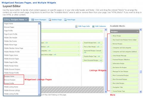 Widgetized Recipes Pages, and Multiple Widgets