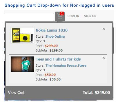 Shopping Cart Drop-down for Non-logged in users