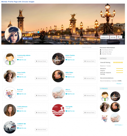 Member Profile Page with Circular Images